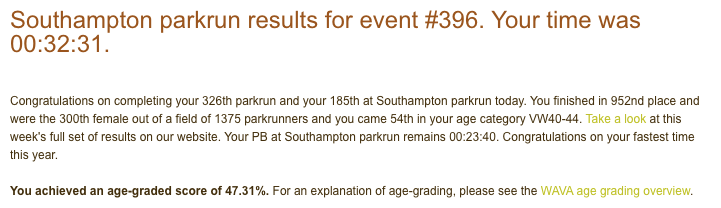 Tamsyn's result email from Southampton parkrun.