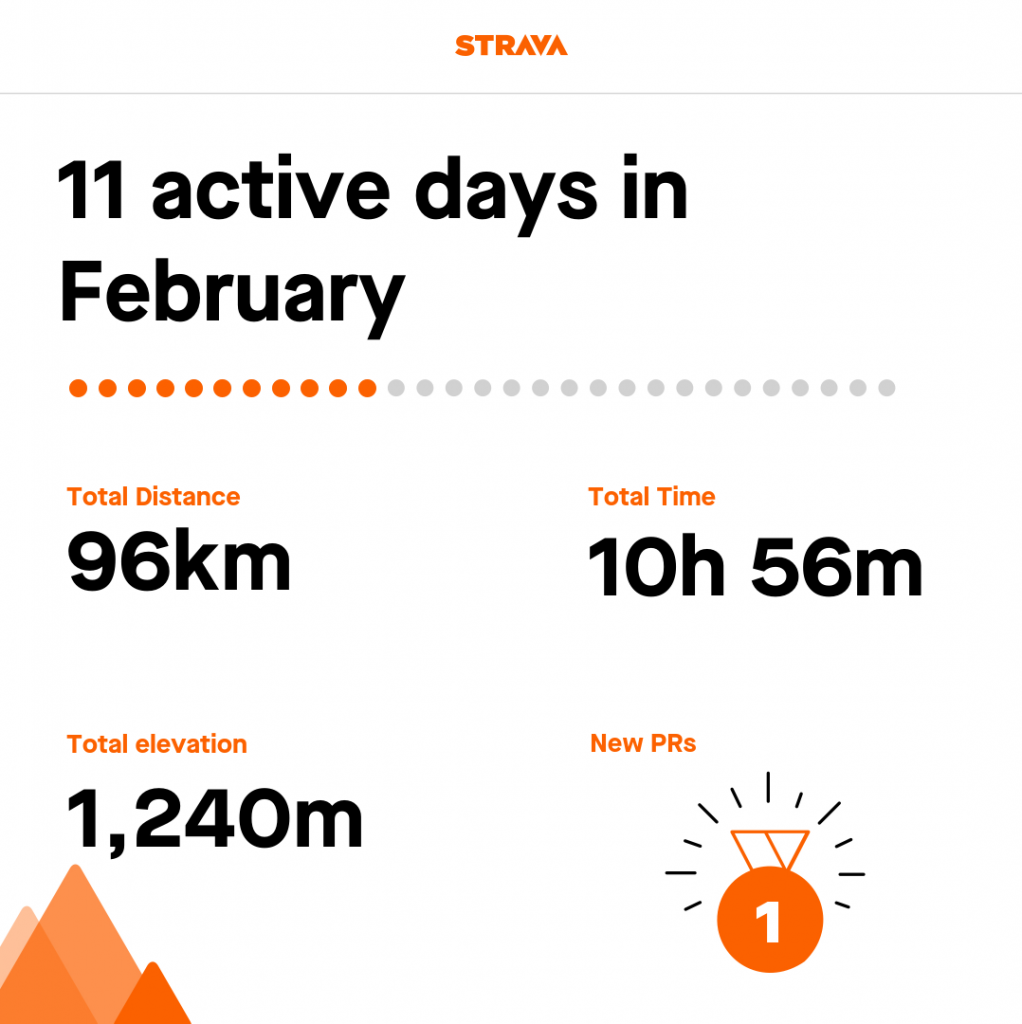 Tamsyn's Strava stats from February - 11 active days.