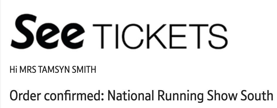 Ticket order confirmation for the National Running Show South 2021.