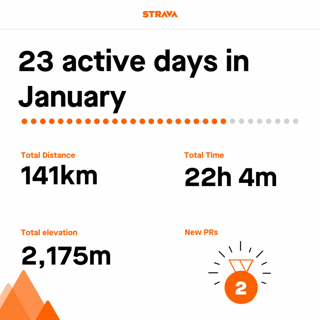 Strava report - 23 active days in January.