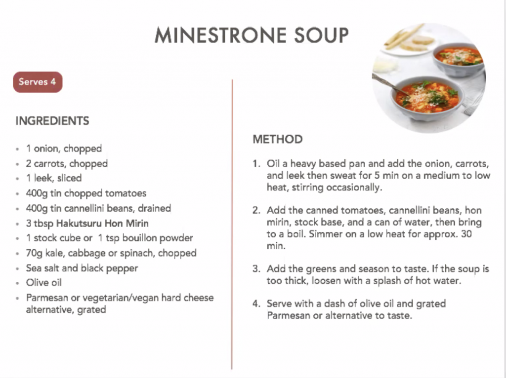 Minestrone soup ingredients and cooking instructions.