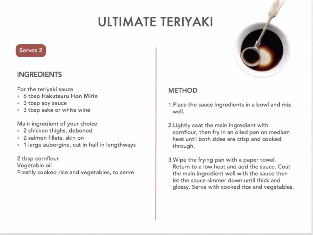 Ingredients and method for making 'ultimate teriyaki'.