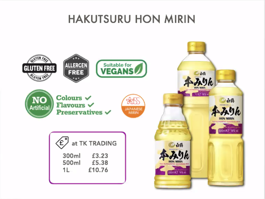 Hakutsuru hon mirin bottles. Logos indiciating that it has no articifical colours, falvours or preservatives, it is gluten free and allergen free and is suitable for vegans. At TK Trading, it costs £3.23 for 300ml, £5.38 for 500ml and £10.76 for 1L.