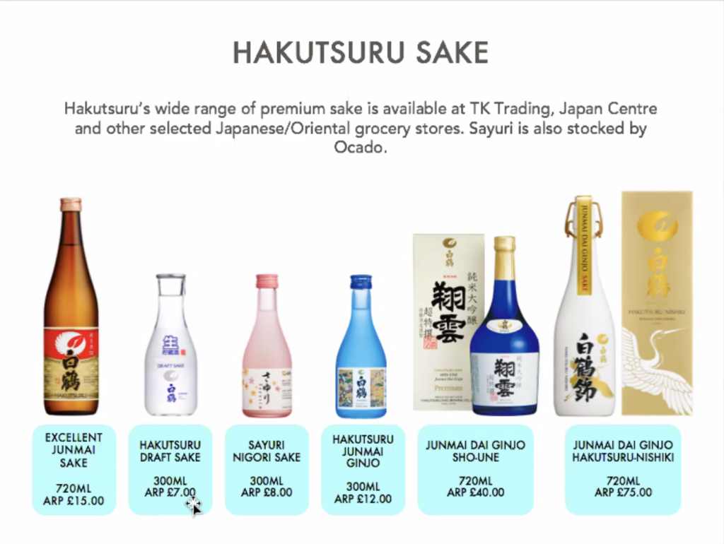 Hakutsuru sake. Hakutsuru's wide range of premium sake is available at TK Trading, Japan Centre and other selected Japanese/Oriental grocery stores. Sayuri is also stocked by Ocado.  Excellent Junmai Sake 720ml £15. Hakutsuru draft sake 300ml £7. Sayuri Nigori sake 300ml £8. Hakutsuru Jinmai Ginjo 300ml £12. Junmai Dai Ginjo Sho-une 720ml £40. Junmai dai ginjo Hakutsuru-nishiki 720ml £75.