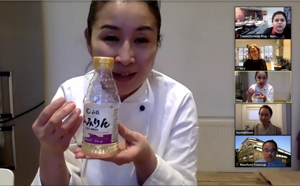 Chef Kinu explaining how adding Hakutsuru hon mirin to food increases its umami flavours.