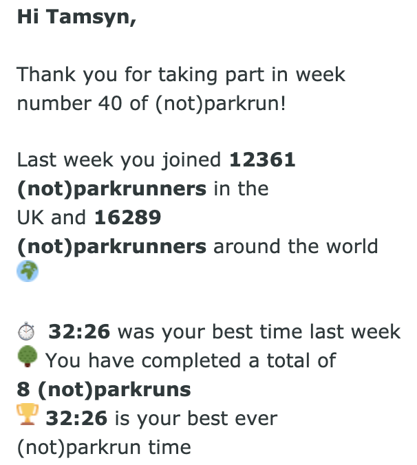 Tamsyn's fastest ever (not) parkrun time of 32:26 email result.