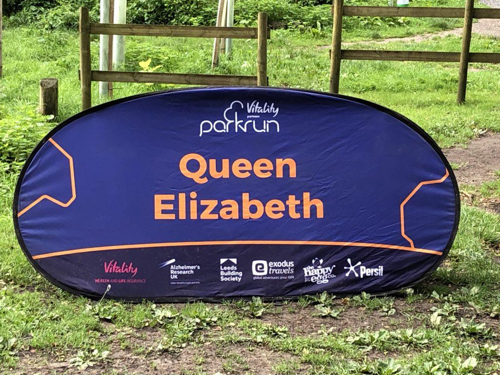 Queen Elizabeth pop up parkrun sign.
