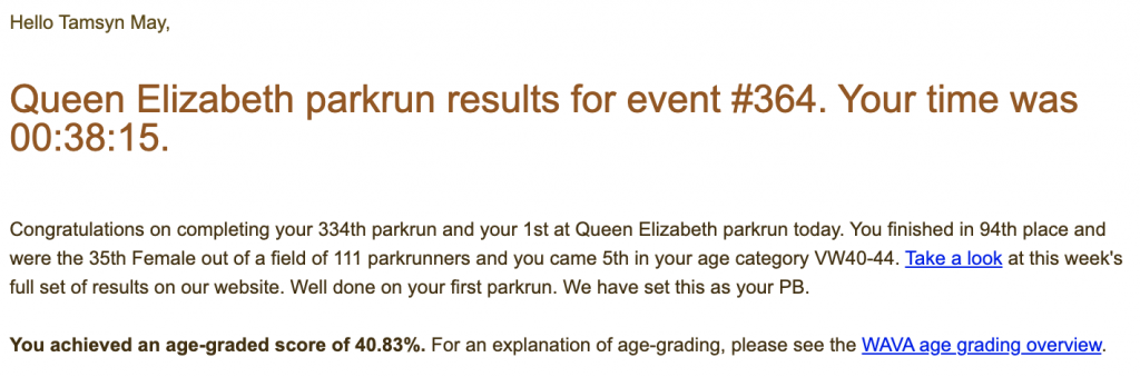 Tamsyn's parkrun result email for Queen Elizabeth parkrun event #364: 38:15.