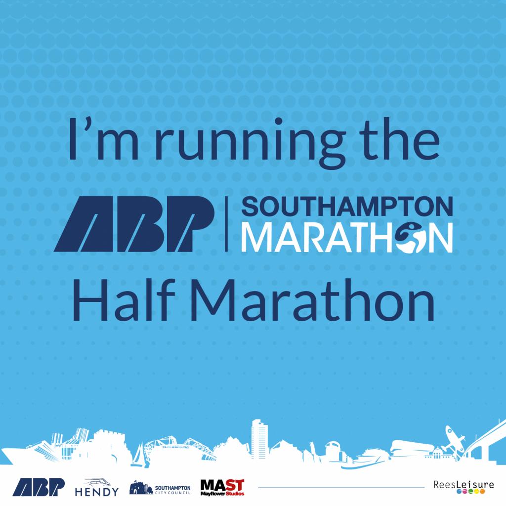 Blue banner that says 'I'm running the ABP Southampton Half Marathon'.