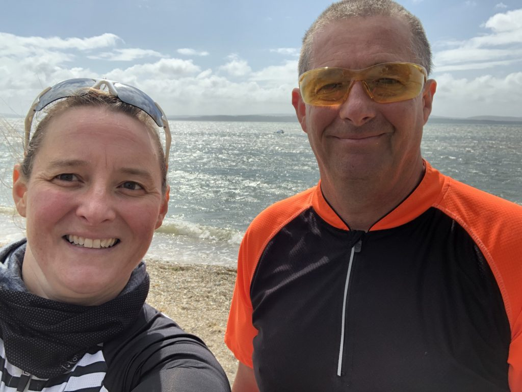 Selfie of Tamsyn and Pete by the sea.
