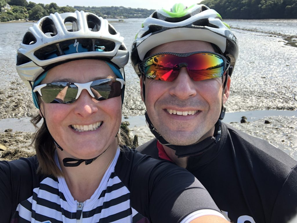 Selfie of Tamsyn and Stuart in front of Restronguet Creek.