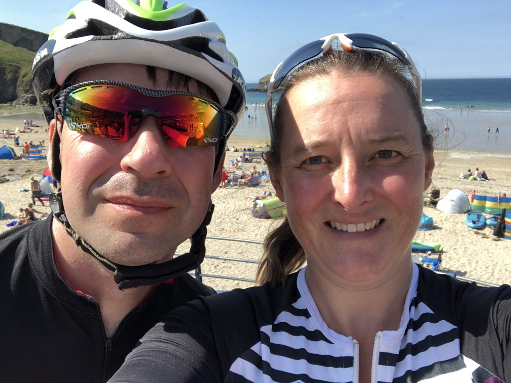 Selfie of Tamsyn and Stuart on front of the beach at Portreath.
