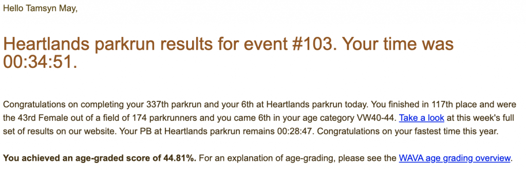 Tamsyn's result from Heartlands parkrun: 34:51.